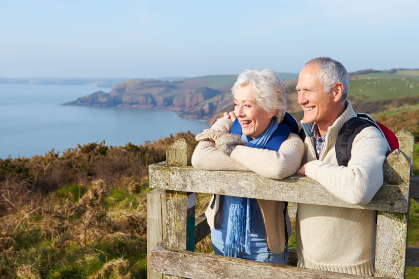 Retired Couple Overlooking the Ocean