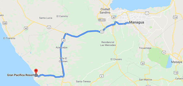 Route between Managua and Gran Pacifica