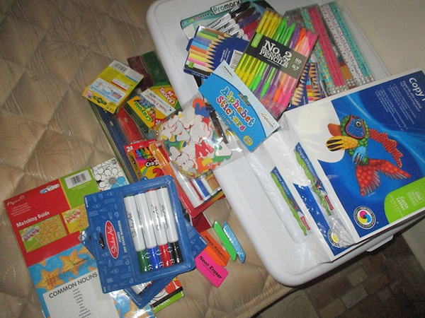 School supplies brought in suitcase